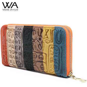 Walk arrive genuína mulheres de couro carteira de couro em relevo bolsa saco da forma saco de embreagem de design da marca carteira dinheiro titular moedas