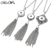 New Trendy Ethnic Style Snap Button Necklace Silver Long Tassel Snap Pendant Necklace fit 18mm Snap Buttons Jewelry(China)