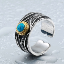 Beier new store 316L Stainless Steel  Turquoise feather opening ring for men  fashion jewelry LLBR8-390R