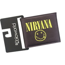 NIRVANA Smiley Face KURT COBAIN Rock Band Wallets Vintage Anime Purse Leather Female Male Bifold Money Card Clips Emoji Wallet(China)