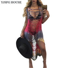 YJSFG HOUSE Sexy Hollow Out Irregular Print Beach Dress 2017 Summer Sleeveless Party Club Dresses Ladies O-neck Bandage Vestidos