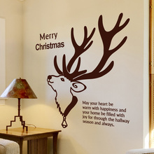 Christmas Wall Decal Quote Merry Christmas Deer Animal Mural Wall Sticker Room Wall Glass Door Decor Shop Window Decoration 677M