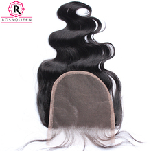 Body Wave 5x5 Lace Closure Bleached Knots Human Hair Closure Brazilian Hair Pre Plucked With Baby Hair Free Part Rosa Queen Remy(China)