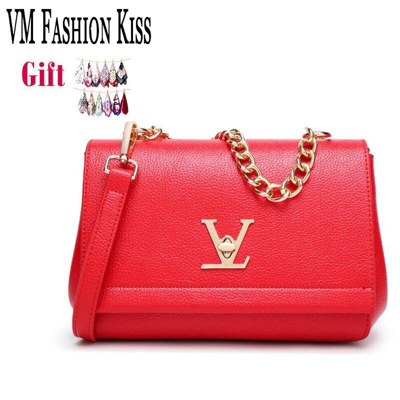 VM FASHION KISS  2017 Hot Flap Ladies Luxury PU Shoulder Bag Louis Ladies Fashion Messenger Bag Ladies Chain Handbag sac a main<br>