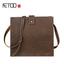 AETOO Leather men bag retro mad horse leather shoulder bag leather large capacity personalized Messenger bag simple package