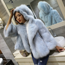 imported fox fur coat hooded short paragraph loose doll hats edition female Discounted