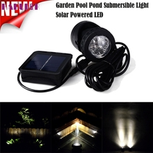 High Quality Solar Powered LED Spotlight Light Garden Pool Pond Outdoor Submersible White