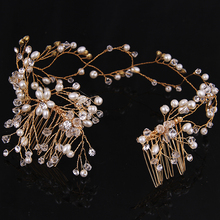 Gold Long Style Handmade pearl Hair Combs Bridal  Wedding jewelry Fashion hair accessories for Women Rhinestones Headdress 33cm