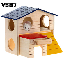 Rat House Wooden Hamster Ladder Pet Small Animal Rabbit Mouse Hideout Luxury Home 2 Storey Platform Playhouse Nest(China)