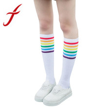 Feitong 1Pair Women Thigh High Socks Fashion Girls Student Over Knee Rainbow Stripe Sporting Socks Black White calcetines mujer