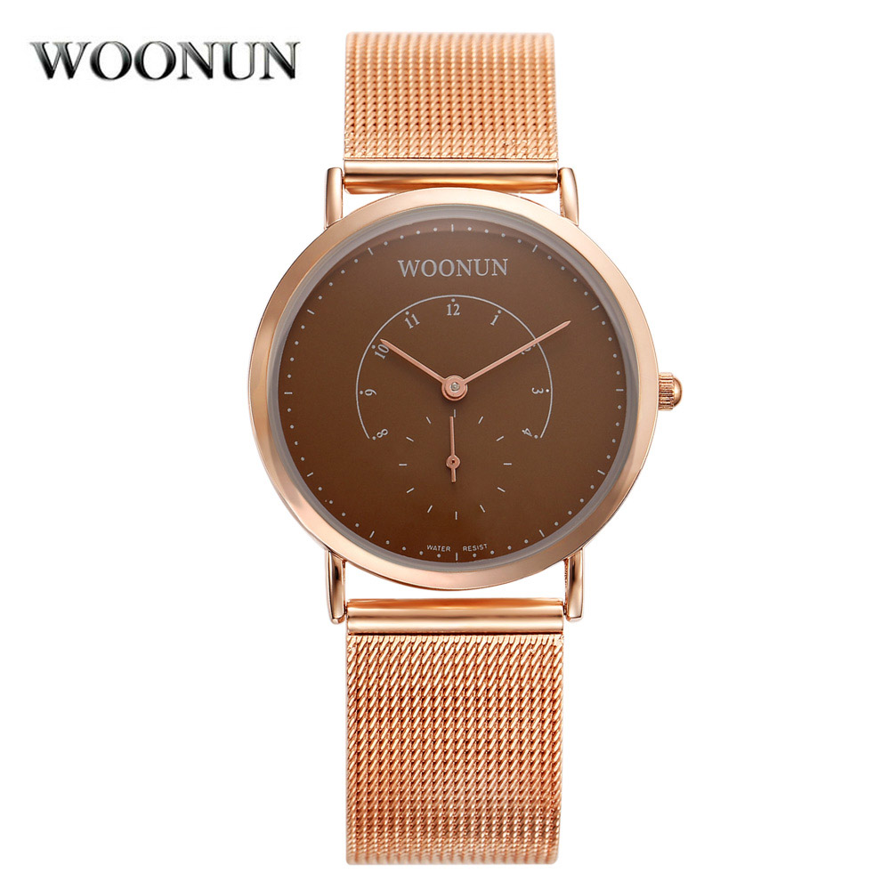 WOONUN Top Brand Luxury Rose Gold Ultra Thin Watches For Men Full Steel Mesh Strap Quartz Watch Shockproof Waterproof Watch<br><br>Aliexpress