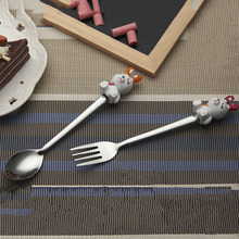 2pcs/set Resin Rabbit Shape Stainless Steel Spoon Fork Tea Coffee Dessert Spoon Fork Children spork West Tableware B