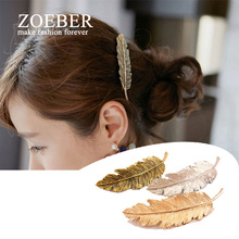Zoeber New hot fashion trendy Feather hairpins jewelry leaf hairgrips Hairwear Sexy colors barrettes for women