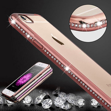 For iphone 5 5S 6 6s 7 plus Luxury Rhinestone Frame Ultra Thin Clean TPU case Crystal Diamond Fashion cover For iphone 7plus