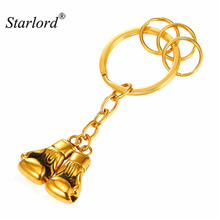 Hot Golden Pair Boxing Glove Key Chain Stainless Steel Gold Color For Men Charm Keychain Car Keyring New GK2171(China)