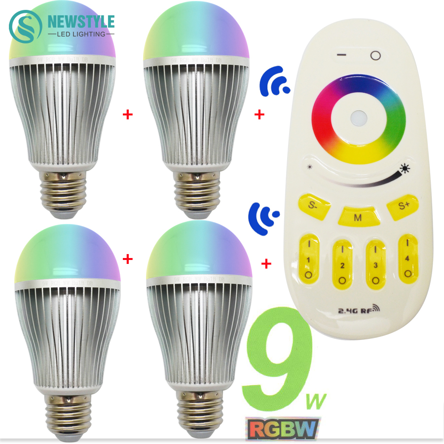 9W Milight Smart RGBW LED Bulb E27 + 2.4G RF Remote Controller 16 million color Dimmable Mi.light LED Lamp set AC85-265V<br><br>Aliexpress