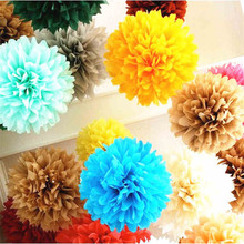 28Colors 4inch (10cm) Small Size Tissue Paper Pom Pom Flower Rose Ball Hanging Wedding Party Decorations 2 pcs(China)