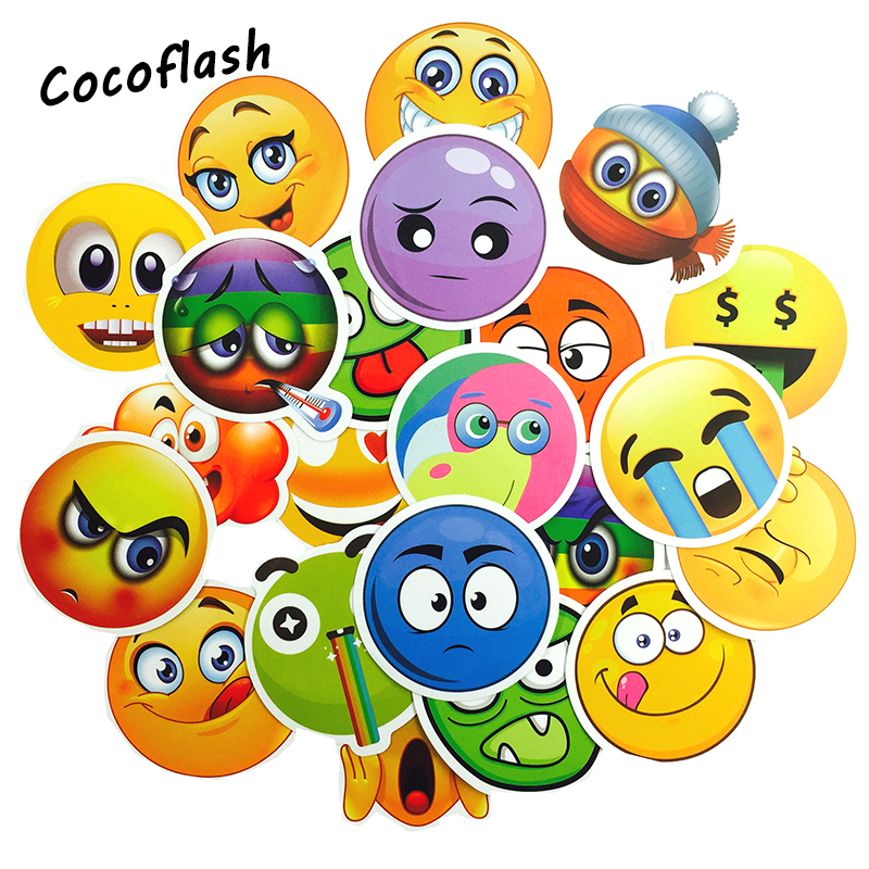 50 PCS Emoji Sticker Smile Face Toys for Children Anime Waterproof Decor Stickers to DIY  Book Laptop Suitcase Sticker For Kids