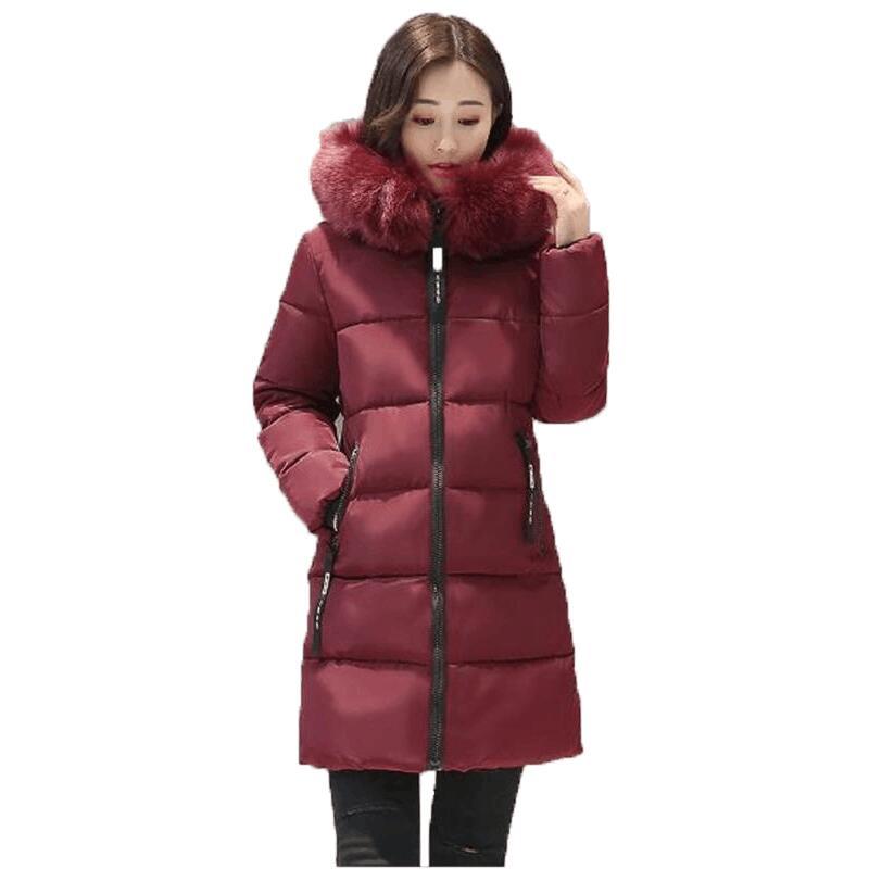 SMFOLW Thick Warm Winter Jacket Women Slim Fashion Letter Ladies Parkas Hooded With Big Fur Collar Plus Size M-3XL Cotton CoatÎäåæäà è àêñåññóàðû<br><br>