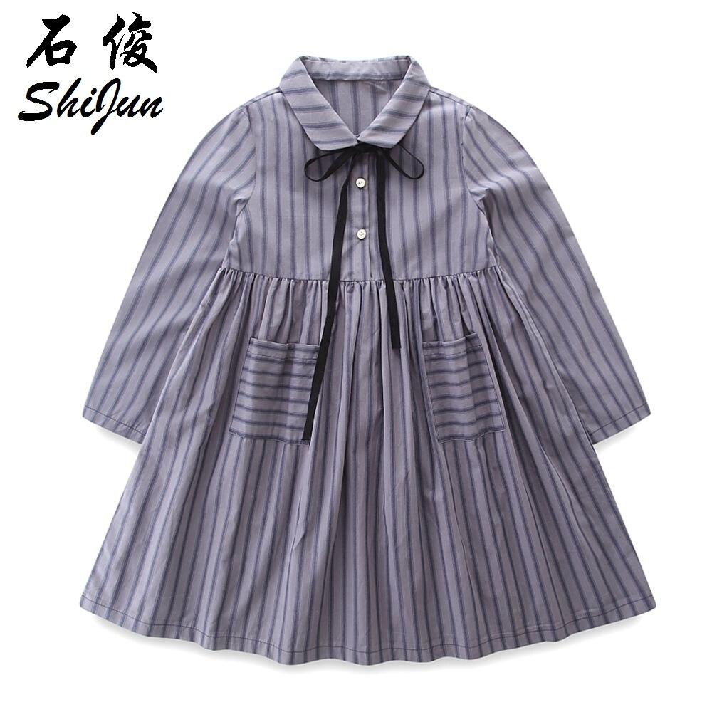 shijun 2018 spring Vintage style striped cotton children girls dress<br>