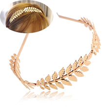 Fashion Women Elegant Baroque Style Golden Silvery Metal Leaves Headband Charm Hair accessories Hairband(China)