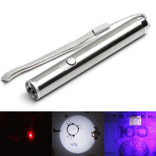 1pc Multifunction Portable Mini Pocket LED UV Penlight Infrared Laser Flashlight Torch 3 in 1 Stainless Steel led Use 1xAA(China)
