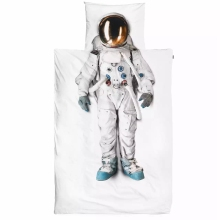 New arrival 100% 60S satin cotton 3D snurk  astronaut spaceman boys bedding set wth duvet cover flat sheet white and black