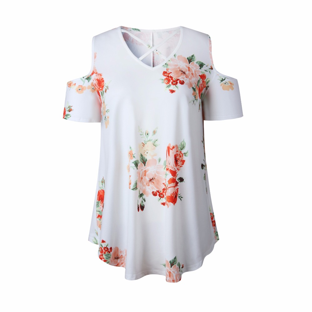 New 2018 Spring Summer Tops Women Short Sleeve Sexy Casual T-shirt Print Slim Off Shoulder T-shirt Flowers Print Tops T-shirt 23