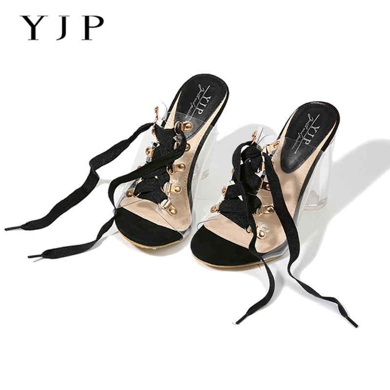 YJP 10.5cm Clear Heels Jelly Sandals Shoes, Black/Beige Metal Lace-up Peep Toe Pumps, Sexy Slippers Slides Perspex Heels(China (Mainland))