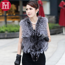 2017 hot sale real natural silver fox fur vest 100% real genuine women sleeveless like whole fox coats Good quality Fur gilet