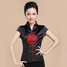 Chinese Style Black Silk Satin Women Blouse Summer Short Sleeve V-Neck Shirt Tops Ladies Novelty Tops S M L XL XXL XXXL WS069(China)