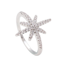 silver plated ring white cz luxury jewelry trendy fashion for women wedding engagement luxury christmas gif star ring jewelry(China)