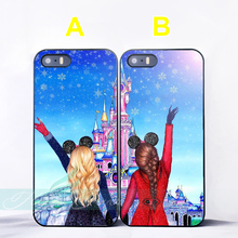 Cartoon Girls Princess Best Friend Couple Cases for iPhone X 8 8Plus 7 6 6S 7 Plus SE 5S 5C 5 4S 4 Case for iPod Touch 6 5 Cover(China)