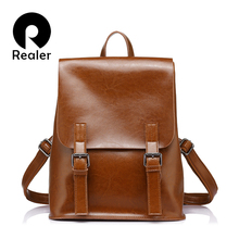 REALER brand fashion women oil wax cow split leather backpacks for teenage girls female backpacks  large capacity shoulder bags