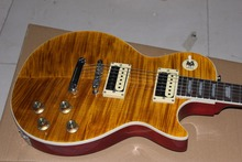 Hot Sale LP tiger guitar striped maple cover, Slash guitar signature on headstock high quality Custom shop(China)
