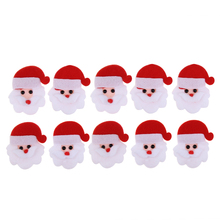 10pcs Diy Santa Claus Christmas Shape Patch For Clothing Iron Embroidered Padded Felt Appliques Accessories Navidad Xmas(China)