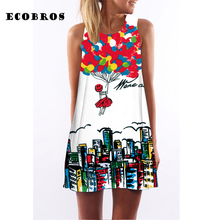 ECOBROS 2017 New Women Summer Dress casual sleeveless Loose floral print mini dresses plus size woman clothing dress