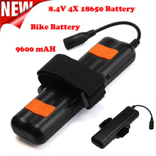 Hot ! 8.4V Rechargeable 9600mAh 4X18650 Battery Pack For Bicycle light Headlamp Cycling Bicycle Accessories High Quality Mar 13
