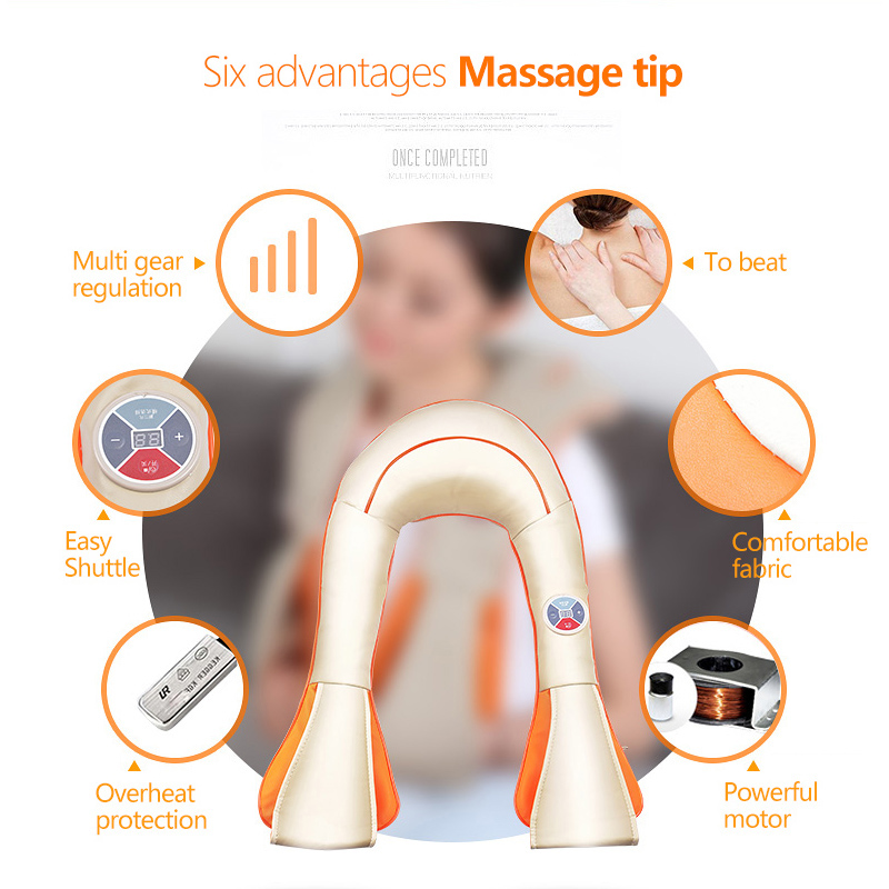 Massage Relaxation 3D U shape SPA massager electric neck massager vibrator pillow shiatsu Kneading Massager Home Office Cars  <br>