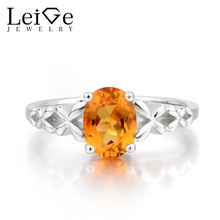 Leige Jewelry Natural Citrine Ring Anniversary Ring Oval Cut Gemstone Yellow Gems Real Solid 925 Sterling Silver Gifts for Women(China)