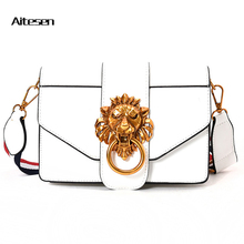 AITESEN Metal Lion Head Michael Small Square Pack Shoulder Bag Oblique Cross Package Clutch Women Designer Handbags Bolsos Mujer(China)