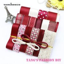 new style!High Quality dark red color mix ribbon set/wine red ribbon sets DIY ribbon set  total 24 yards