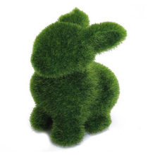 Novelty Handmade Artificial Turf Grass Animal Easter Rabbit Home Office Ornament Room Office Decor Easter Bunny Handiwork Gift(China)