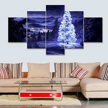 5 Pieces/set Modern Home Decoration Christmas Aesthetic moving LED Tree Picture Painting Print On Canvas Painting(China)