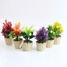 Plastic Artificial Flower Plant Potted Fake Flower Simulation Bonsai for Wedding Decoration Christmas Ornaments DIY(China)