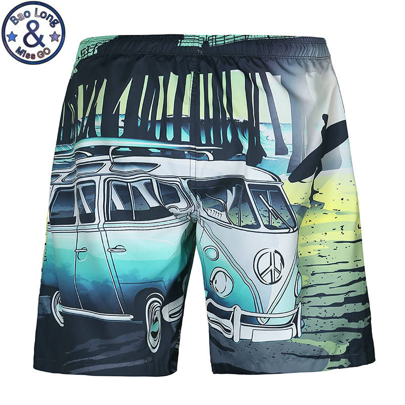 Mens Beach Summer Shorts Swimsuit Cartoon Bus Car Funny Casual Hip Hop Board Shorts Bermuda Masculina Boardshort(China)