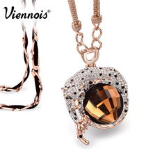 Viennois Fashion Jewelry Luxury Rose Gold Color Leopard Long Necklaces for Woman Blue/Orange Crystal Full Rhinestone Pendants