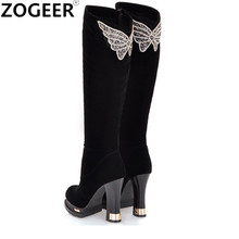 Hot 2017 Fashion Autumn Winter Women Boots Ladies Sexy Rhinestone Butterfly Knee High Boots Flock Thick High Heel Long Shoes(China)