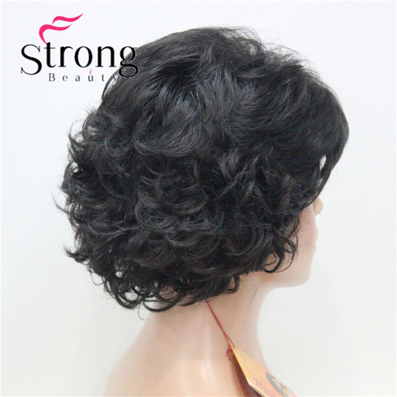 E-7125 #2New Wavy Curly Off Black Wig Short Synthetic Hair Full Women's Wigs For Everyday (7)