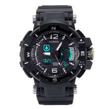 New 2017 Men's Sports Waterproof Diving Quartz Wrist Watch Rubber Band LED Digital Outdoor Equipment LED Display(China)